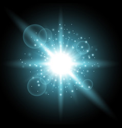 Light circle with stardust aqua color vector
