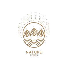 logo sunny forest and fields vector image