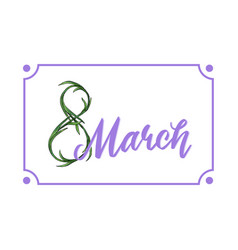 lovely lilac 8 march holiday design template vector image