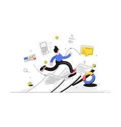 man running on paper vector image