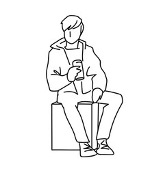 man sitting on cube with can of soda or other soft vector image