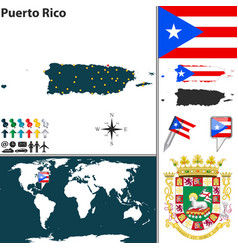 map puerto rico vector image