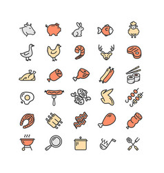 Meat butchery color thin line icon set vector
