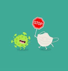 Medical mask stops corona virus graphics vector