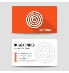modern business card template with maze vector image