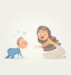 Mother with baby funny cartoon characters vector