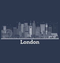 Outline london england city skyline with white vector