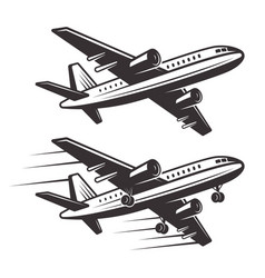 passenger airplane two style design elements vector image