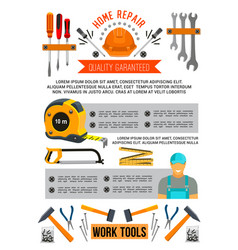Poster of work tools for home repair vector