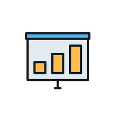 presentation with growing schedule flat color icon vector image