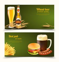 Realistic beer banners vector