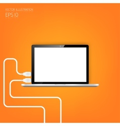 Realistic detalized flat laptop Usb connection vector image