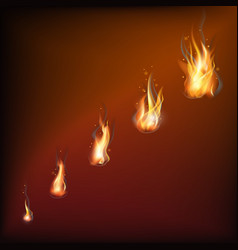 realistic fire flames set vector image vector image