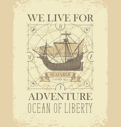 Retro travel banner with sailing ship and old map vector