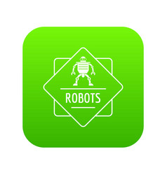 robot technology icon green vector image
