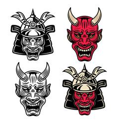 Samurai heads set objects or design vector