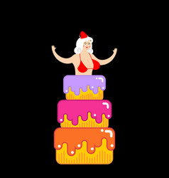 Santa girl from cake striptease congratulation vector