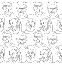 seamless pattern with bearded man one line art vector image