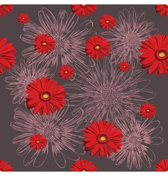Seamless red pattern with lined and colored vector image