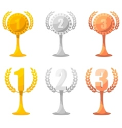 Set of champion rewards in gold silver and bronze vector