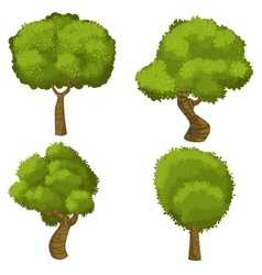 Set of funny cartoon trees vector image