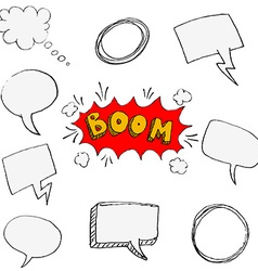 Set of hand drawn comic style speech bubbles vector