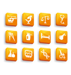 set of medical buttons vector image