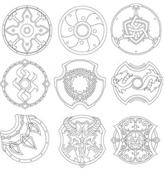 set of shield vector image