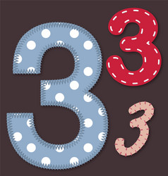 Set of stitched font - 3 Three vector