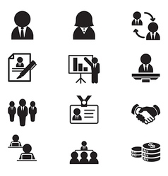 Silhouette human resource staff management icons vector image