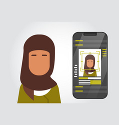 Smart phone security system scanning muslim woman vector