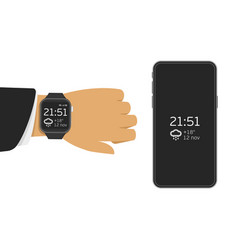 Smart watch and mobile phone vector