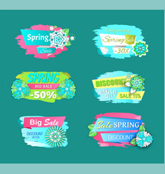 spring big sale discounts and blooming flowers vector image