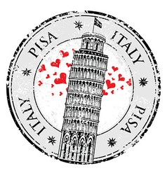 Stamp love heart Pisa tower in Italy vector