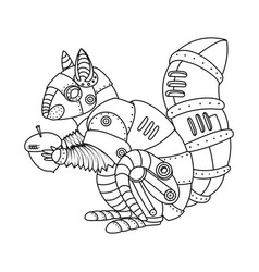 Steam punk style squirrel coloring book vector