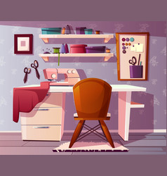 tailor seamstress room handicraft vector image