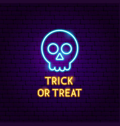 trick or treat skull neon label vector image