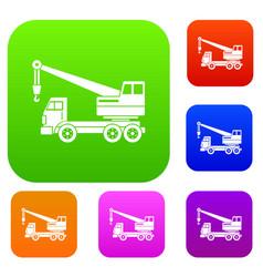 truck crane set color collection vector image