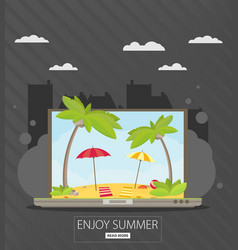 vacation and travel banner with tropical seaside vector image