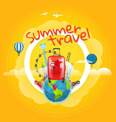 Vacation travelling concept with handbag vector