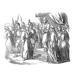 Vintage drawing biblical prophet daniel vector
