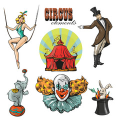 Vintage hipster circus collection with carnival vector