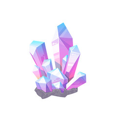 Violet amethyst purple gem stone isolated crystal vector