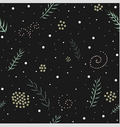 winter seamless pattern with branches of spruce vector image