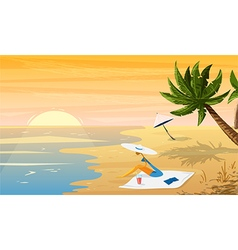 woman on beach tropical sunset landscape vector image