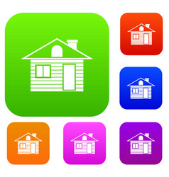 Wooden log house set collection vector