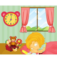 A young girl sleeping soundly in her bedroom vector image