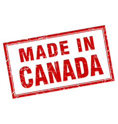 Canada red square grunge made in stamp vector