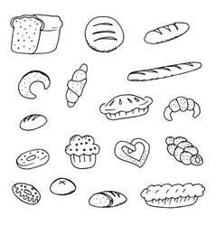 Doodle bread bread donuts vector