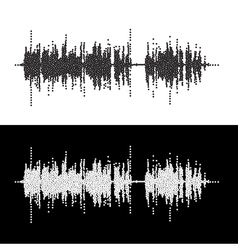 Halftone dot square elements sound waves Music vector image